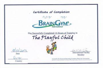 תעודת מטפל בשיטת הילד המשחק – brain gym